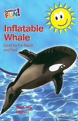 Kids Inflatable Whale Black Dolphin Holiday Beach Swimming Pool Summer Fun 90cm