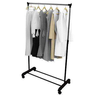 NEW Adjustable Single Mobile Clothes Garment Hanging Rail With Wheels