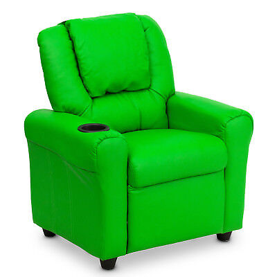 Premium Kids Children Leather Recliner Lounge Chair Sofa With Drink Holder Green