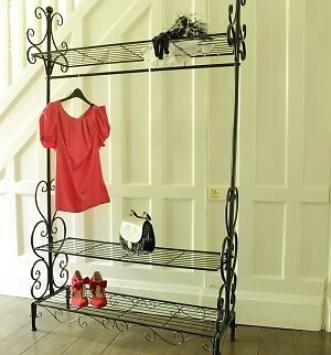 black ornate metal hanging clothes rail shabby style home decoration wardrobe