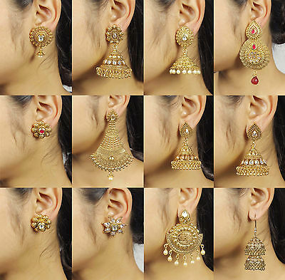 Indian Bollywood Jewelry Gold Plated Wedding Wear Traditional Polki Earring Set