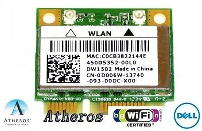 + Atheros AR5B95 DW1502 Windows®10 WLAN Mini PCIe 300Mbit/s 802.11b/g/n +