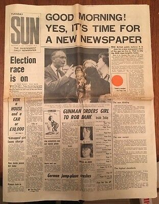 Very Rare First Issue of The Sun Newspaper - Number 1 - September 15th 1964