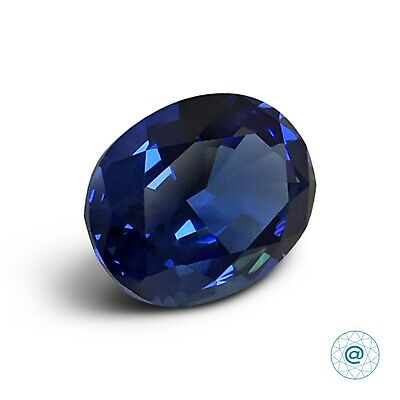 Sapphire Blue medium. Oval 10x8mm. 2.85 Ct. Created Gemstone Monosital. US@GEMS