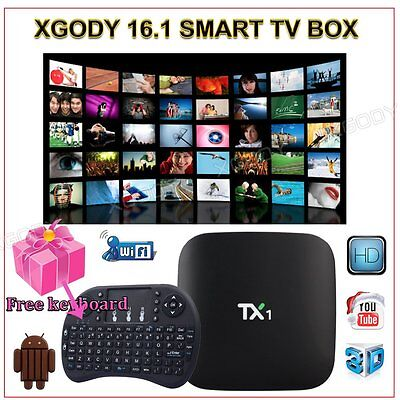 KODI 16.1 Fully Loaded TX1 NEW Android 4.4 Free Sports Smart TV BOX+Air Mouse i8