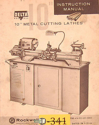"Delta Rockwell 10"", Metal Cutting Lathes Instructions Manual 1964"
