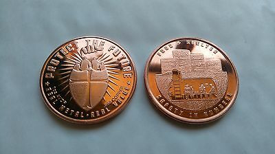 1 oz Copper 'Protect the Future, Safety in Numbers, Food+Shelter' Coin / Round