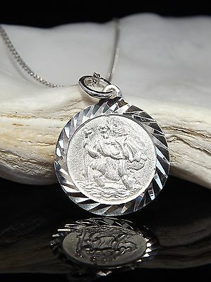 Solid Sterling Silver 925 St Saint Christopher Pendant Necklace 16/18 inch Chain