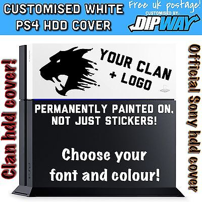 CUSTOM PS4 HDD COVER, YOUR CLAN + LOGO - PlayStation 4 Face Plate Glacier White
