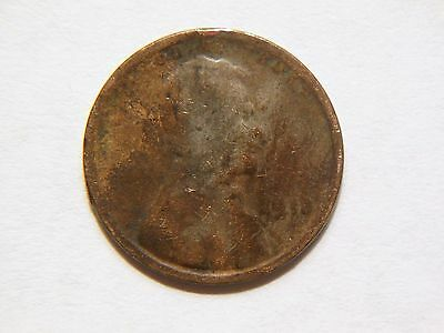 Nice Vintage 1914-P Lincoln Wheat Cent Error Coin,  Struck through Grease