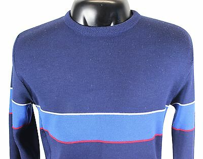 VTG 80s SNOWMASS Ski SWEATER XL / Large All Wool Piped Stripes Blue Alpine Racer