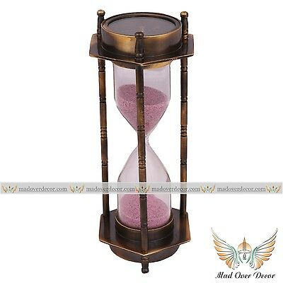 Magnetic Compass Antique Hourglass Nautical Maritime Decorative Brass Sandtimer
