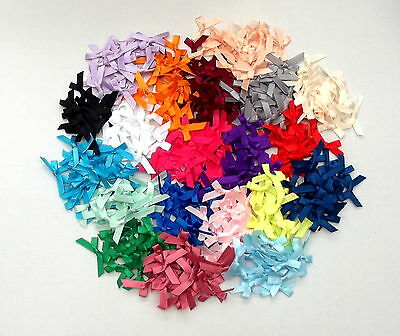Satin Bows 7mm Wedding Craft Sewing Pks 20, 50 or 100 Lots of Colours