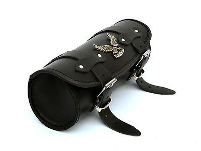 Ph) Black Leather Pouch Tool Roll Bag Honda Shadow vt 600 1100 vtx 1300 1800