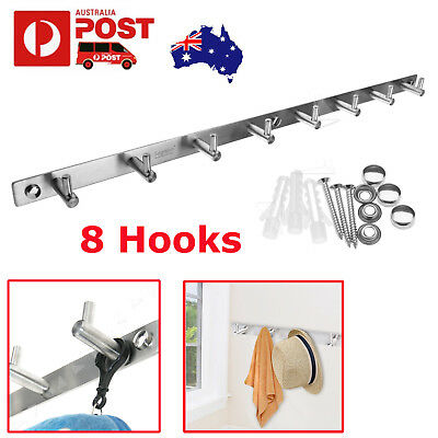 New 8 Hooks Wall Hanger Clothes Coat Hat Holder Rack Brushed Stainless Steel