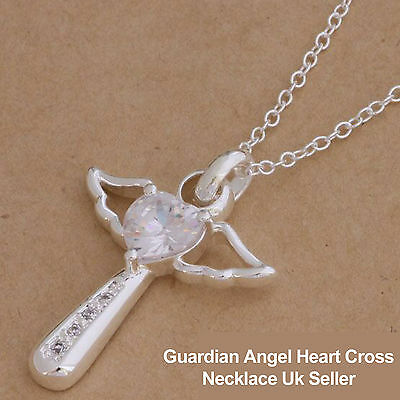 Silver Guardian Angel Wings+Heart Crystal Cross Pendant Necklace-Holy Communion