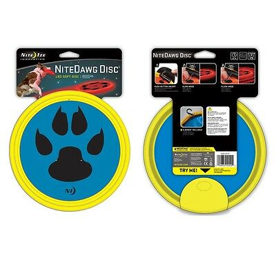 Nite Dawg LED Soft Dog Flying Disc Light Up Fetch Frisbee Outdoor Sport
