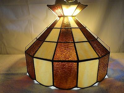 Antique 1800's CEILING FIXTURE & ORIGINAL LARGE STAINED GLASS SHADE-WORKS GREAT
