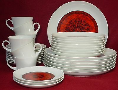 BLOCK china FLAMENCO pattern 32-pc SET cup saucer dinner salad bread
