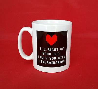 Undertale Inspired Tea Mug 10oz - Heart filled with determination