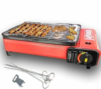 Portable Gas Barbecue Grill BBQ Camping Table top Cooker Stove 1500W Butane NEW