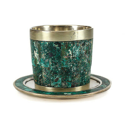 Taxco Los Castillo Sterling Silver Cup and saucer Green Malachite inlay. c1930