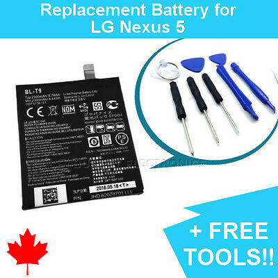 NEW Google LG Nexus 5 Replacement Battery D820/1 BL-T9 2300mAh with FREE TOOLS