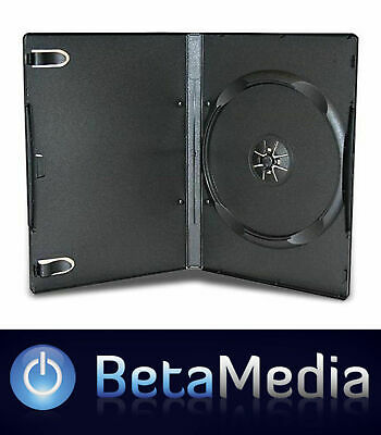 200 x Single Black 14mm Quality CD / DVD Cover Cases - Standard Size DVD case