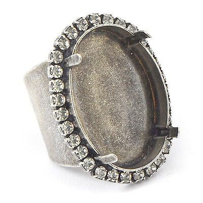 10 Pack 30x22mm Oval Adjustable Wide Ring base with SW rhinestone