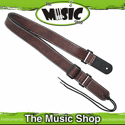 "Xtreme 1 1/2"" Leather Style Adjustable Brown Ukulele Strap with End Pin - LS302"