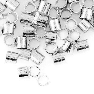 20g Tube Brass Silver Crimp Beads Finding Wholesale 1.5x1.5mm CA 2xCP0015