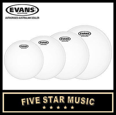 "Evans G2 Coated 4 Pce Drum Skin Fusion Set 10"" 12"" 14"" 14"" Heads New"