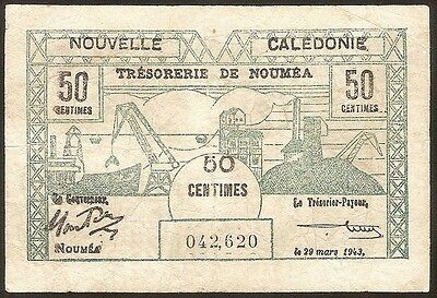 NEW CALEDONIA 50 Centimes 1943 - F - Pick 54