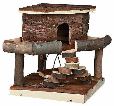 Wooden Ida House with Swing Stairs & Removable Corner Hut Hamsters Mice Gerbils