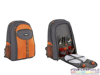 NEW THERMOS 2 PERSON BACKPACK Insulated Cooler Picnic Cutlery Cooler ORANGE GREY