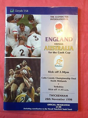 England v Australia 1998 Cook Cup Rugby Programme