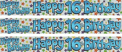 16Th Birthday/ Age 16 Blue And Silver With Multi Colour Stars Foil Banners (Ex)