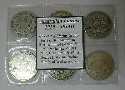 1910-1914H Florins, Circulated Group of first issued Florins (6 coins)
