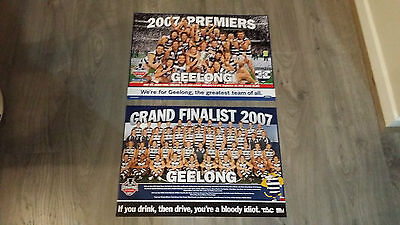 2 X Afl 2007 Geelong Cats Grand Final Premiership Premiers Print Poster