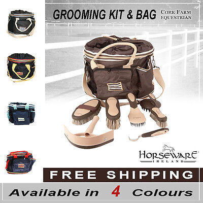 Horseware Complete GROOMING KIT + BAG NEWMARKET Cherry/Navy/Gold/Choc FREE p&p