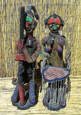 """African Pair of Beaded Yoruba Figures From Nigeria 34"""" and 31"""" Tall"""