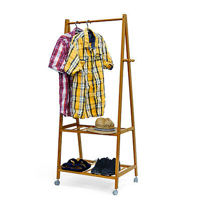 Bamboo Wardrobe Stand With Wheels 154x73.5x45cm Coat Suit Rack Clothes Rack Rail