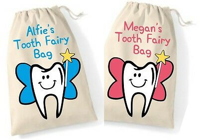 Personalised Baby First Tooth Fairy Bag Boy Girl Childs Mini Drawstring Keepsake
