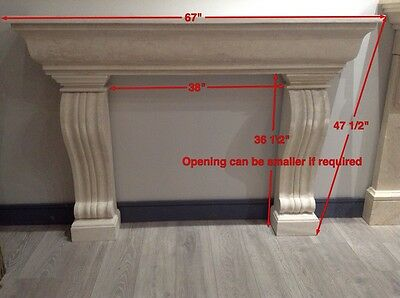 ELEGANT HAND CARVED CARiO TRAVERTINE ESTATE FIREPLACE MANTEL