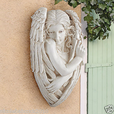 """Heavenly Shy Wings Timid Angel 24"""" Wall sculpture decor"""