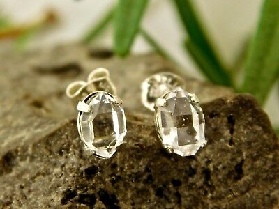 5x7 mm A+ Grade NY Herkimer Diamond Crystal Earrings Sterling Silver Q2 Lot1