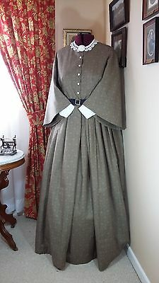 Civil War Reenactment Day Dress Size 28 Brown/Taupe Floral w/ Pagoda Sleeves