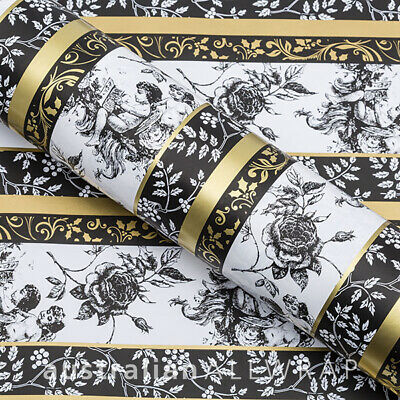 Cherub Black, Gold & White Wrapping paper,counter roll, gift wrap,500mm x 50m