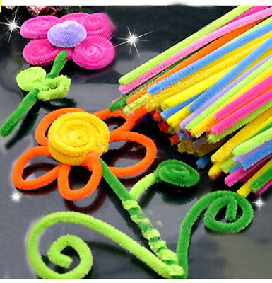 DIY 50pcs Colourful Pipe Cleaner Chenille Craft Stem hand-woven Children Puzzle