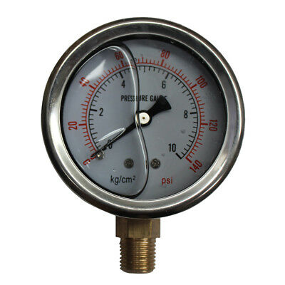 "150PSI Pressure Gauge 10Bar Liquid Fille G1/4"" Dia 2.5"" 63mm Stainless 94049008"